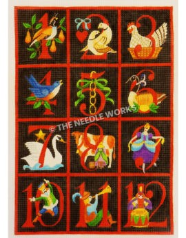 black quilt pattern decorated with the 12 days of Christmas with red numbers and red borders