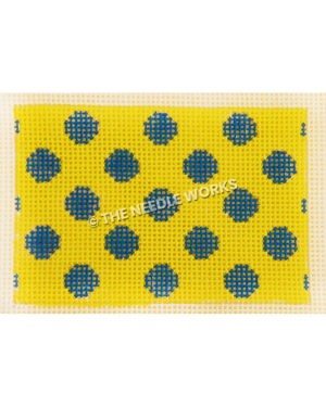 yellow rectangle with blue polka dots