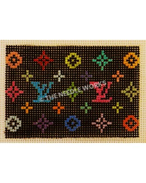 black rectangle with Louis Vuitton pattern in colorful flowers and LV repeating