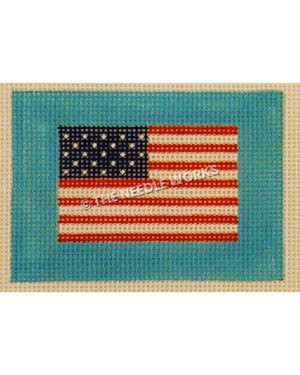 American flag on turquoise background
