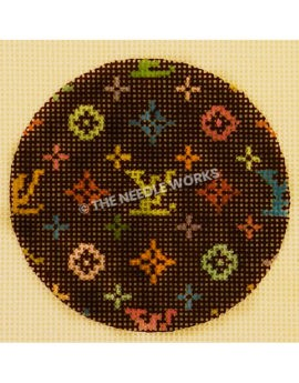 black ornament with Louis Vuitton pattern in bright colors
