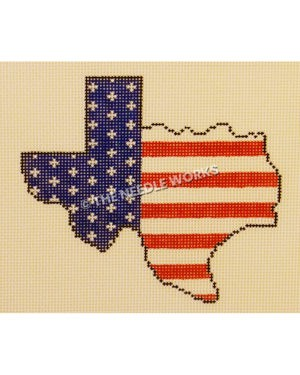 shape of Texas decorated with the stars and stripes of the American flag