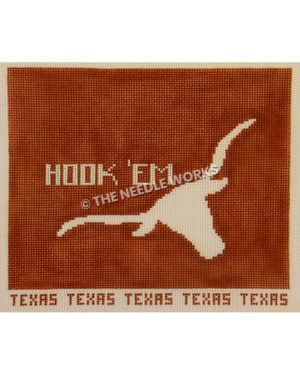 UT flag with white longhorn and Hook 'em on burnt orange rectangle and Texas written at bottom