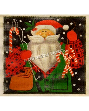 Santa in red plaid suit with green vest holding fishing pole and candy canes on end of fishing wire on dark background with snow falling