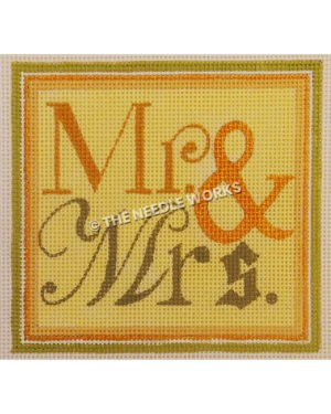 yellow square with Mr. & Mrs. written in gold and green with orange, white, and green border