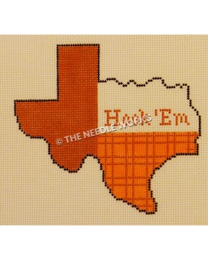 Texas shape with burnt orange pattern and Hook 'Em