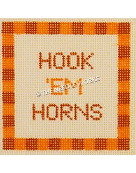 Hook 'em Horns in orange colors on white square with orange square border