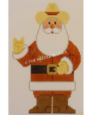 Santa in burnt orange suit and yellow cowboy hat with gold UT on suit pocket area and holding hand up in hook 'em horns sign