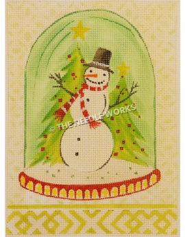 snowman with two Christmas trees inside slow globe on yellow and white plaid patterned background and border