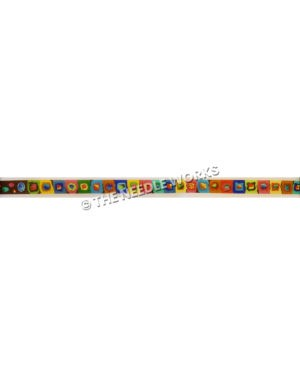 colorful belt with squares in geometric patterns with different shapes