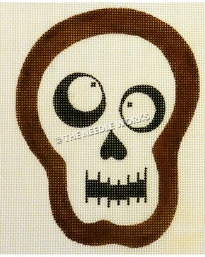 skeleton head with crazy eyes pointing different directions and brown outline
