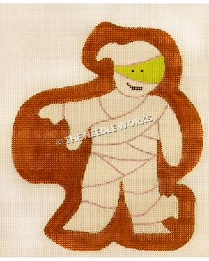 mummy with brown background outline with green face peeking through wraps
