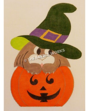 brown cat wearing green hat with purple band sitting on jack-o-lanter
