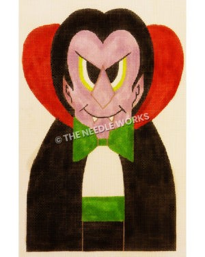 purple Dracula with lime green border on eyes and green bow tie and cummerbund in black jacket