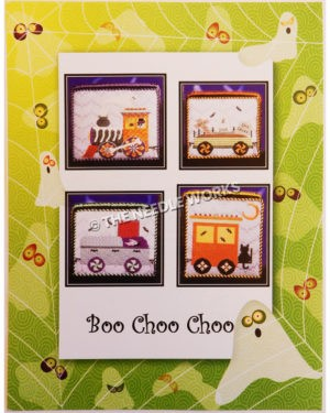 Boo Choo Choo squares with train engine, cars and caboose with Halloween decorations including skeletons, tombstones, Dracula, black cat and bats on white background