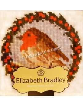 brown bird with red head on blue snowy background with round red and black wreath border