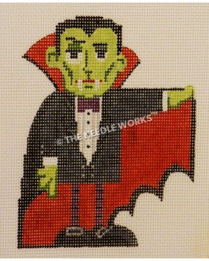 green vampire in black suit with purple bow tie holding up one edge of cape with red lining inside
