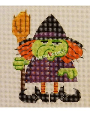 green witch in purple dress and black hat and boots with orange hair and orange and red striped tights holding broom