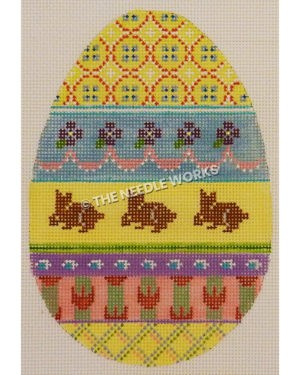 yellow Easter egg with plaid pattern at top and bottom, blue band with purple flowers and pink ribbons, purple rabbits on yellow band, and green, purple and pink bands with decorations
