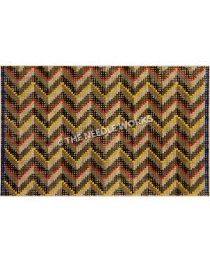 zigzag pattern in red, green, gray and yellow colors