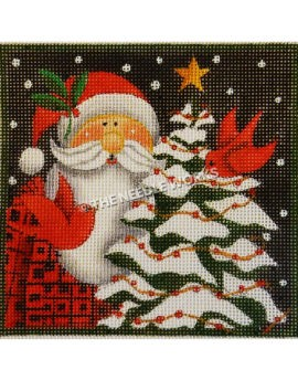 Santa in red plaid suit next to Christmas tree with two cardinals flying
