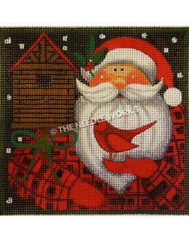 Santa in a red plaid suit next to birdhouse holding red cardinal on night background with snow falling