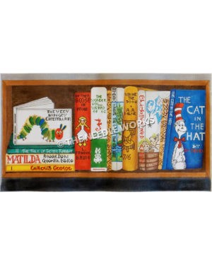 bookshelf filled with children's books in various colors