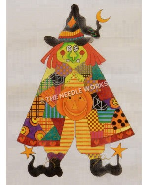 green witch with orange hair and black patchwork hat and patchwork dress with black boots and stars at toes holding jack-o-lantern for trick-or-treating