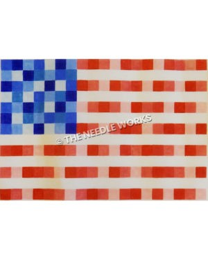 American flag in mosaic pattern with different shades of red, white and blue