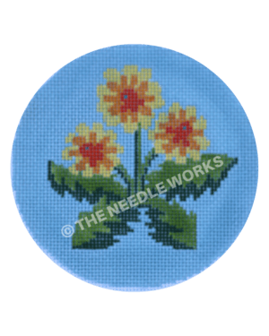 blue ornament with three yellow dandelions