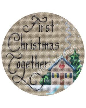 gray round ornament with house and trees and First Christmas Together in black letters