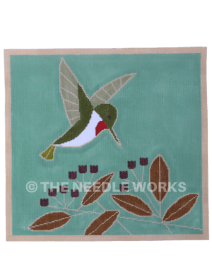 hummingbird flying on turquoise background near purple and brown flowers