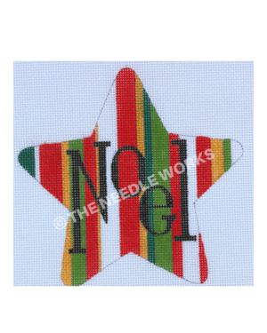 star with red, green, white and gold stripes with Noel written in black
