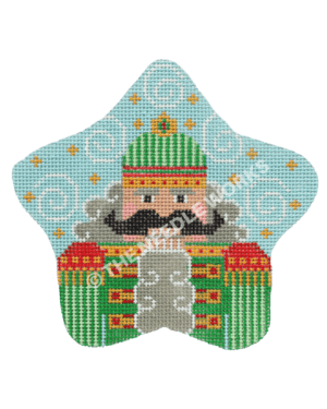 blue star with green nutcracker in gray hair with black mustache