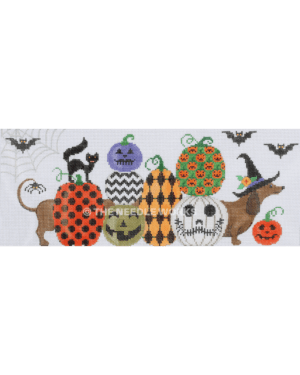 daschund dog wearing witch hat with purple band and pumpkins and jack-o-lanterns in front with bats, black cats, spiders and web