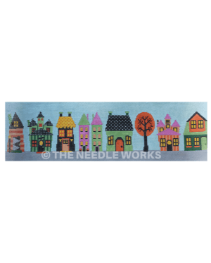 houses in row in Halloween theme with green, orange, black, yellow, purple colors
