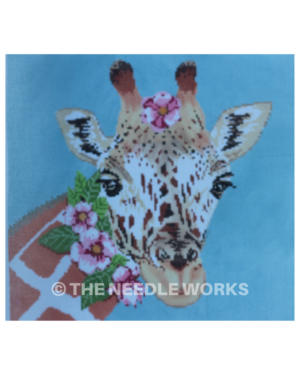 giraffe face with pink Hawaiian flowers on head and neck on blue background