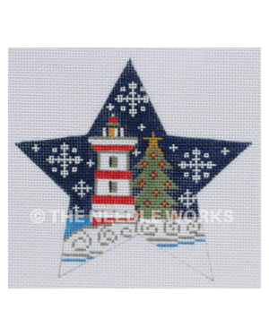star with red and white lighthouse next to Christmas tree in snowscape with dark blue sky and snowflakes