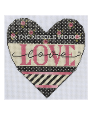 black heart with pink flowers and love in pink with pink and black and white stripes
