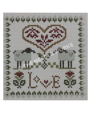 white square with two black and white lambs with gold herat and red flowers and Love in gold with red flowers