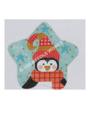 blue star with penguin wearing red and gold winter hat and scarf