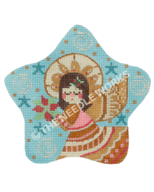 blue star with brunette angel in gold and pink dress holding poinsettia