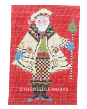 Santa in yellow jacket and hat with green vest and orange and black checkered pants with blue tipped boots carrying black and white cane with Christmas tree on top on red background