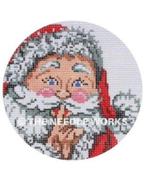 round ornament with Santa face with finger to lips to stay quiet