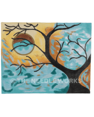 silhouette of tree on aqua background with yellow leaves pattern making outline of circle