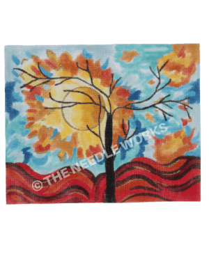 silhouette of tree with blue sky with fiery sun and leaves and red wave landscape