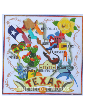 white square with Texas letters in red and blue and shape of Texas with cities and icons including yellow rose, cowboy hat, flag, guitar, boots, Alamo, and bluebonnet