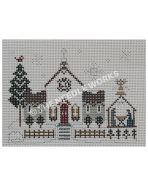white church on snowscape with nativity scene