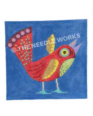 red bird with yellow wings and purple beak and green belly on dark blue background