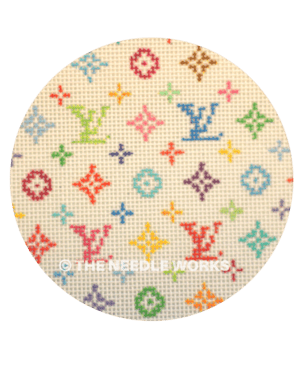 white ornament with Louis Vuitton symbol in variety of colors